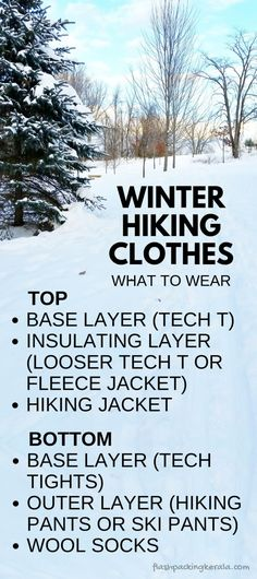 Hiking essentials for cold weather hiking clothes and gear. Base layer tech t and tights, hiking pants, ski pants, wool socks. Travel ideas for what to wear hiking in cold weather winter vacation and what to pack for day hike and beginners hiking Winter Layering Outfits, Outfits Winter, Winter Travel Outfit, Winter Clothes, Layering Clothes, Hiking Jacket, Hiking Pants, Hiking Clothes, Ski Pants