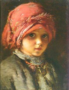 """Konstantin Makovsky, """"The girl in the red scarf"""""""