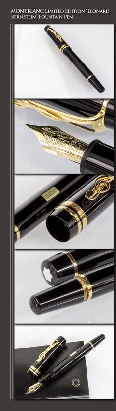 MONTBLANC Limited Edition Leonard Bernstein Fountain Pen - Donation Series (resin body, gold-plated trim, 18kt gold nib) - 1996 / Germany