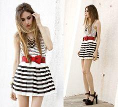 White stripes (by Flávia Desgranges van der Linden) http://lookbook.nu/look/3887580-white-stripes