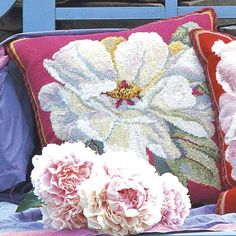 """""""I design my pillows as bright jewels meant to lift a furnishing scheme. For an even more emphatic statement, I make lots of pillows and place them all over"""". Kaffe's peony series took shape this way and they make a dramatic group. Needlepoint Designs, Needlepoint Kits, Tapestry Kits, White Peonies, My Design, Vibrant Colors, Diy Crafts, Crafty, Creative"""