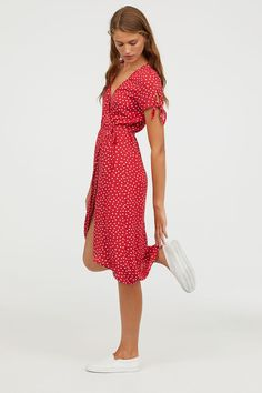 V-neck dress in woven, crêped viscose fabric. Short sleeves with knot-detail at cuffs, wrapover front with a tie at waist, and an asymmetric hem. SEE DETAILS Modest Dresses, Casual Dresses, Summer Dresses, Midi Dresses, Urban Dresses, Red Dress Casual, Modest Clothing, Event Dresses, Satin Dresses