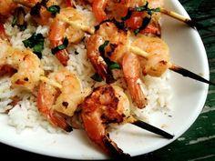 Lemon, Garlic & Basil Shrimp Skewers