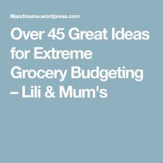 Over 45 Great Ideas for Extreme Grocery Budgeting – Lili & Mum's