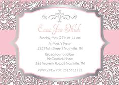 First Communion Invitation - Printable Baptism or Christening Invitation