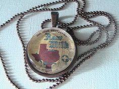 Texas Vintage Milk Label Necklace.  $17.00