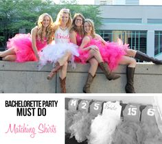 Our pink shirts are from Nancy's Design Studioand the Bride's shirt is…