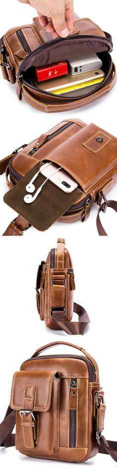 Retro Genuine Leather Business Casual Bag 6 Inch Phone Pocket Crossbody Bag For Men#bags #business #casual
