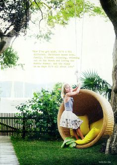 Hanging rattan chair from big oak tree with cute little girl. All yeses. From the HUNTED INTERIOR: Hanging Around Outdoor Hanging Bed, Outdoor Rooms, Outdoor Gardens, Outdoor Living, Outdoor Seating, Outdoor Ideas, Hanging Furniture, Garden Furniture, Hanging Chairs