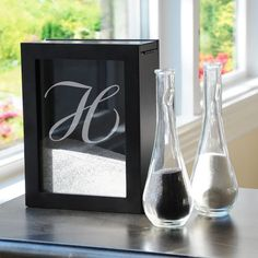 Personalized Black Unity Sand Ceremony Shadow Box Set