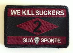 """2/75 RANGER """"WE KILL SUCKERS"""" MORALE PATCH  Size: 3"""" x 2"""" Hook Velcro backing FITS perfect on the Tactical Ball Cap."""