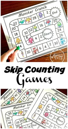 Do you need skip counting games for the classroom? These no-prep games help children learn to count by all the way to the Skip Counting Activities, Counting In 2s, Counting Puzzles, Math Activities, Educational Activities, Math Resources, Math Board Games, Math Games, Learn To Count