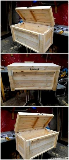- Designs And Pictures of Pallet Wood Furniture Furniture Easy Wooden Pallets Chest Storage - Pallet Furniture Easy, Wood Pallet Crafts, Diy Wood Box, Reclaimed Wood Furniture, Diy Pallet, Pallet Wood, Book Furniture, Pallet Seating, Apartment Furniture