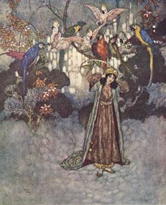 """""""These no sooner saw Beauty than they began to scream and chatter.""""    These illustrations came from:    Quiller-Couch, Sir Arthur. The Sleeping Beauty and Other Tales From the Old French. Edmund Dulac, illustrator. New York: Hodder & Stoughton, 1910."""