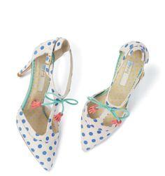 Blue Boden spotty tassle heels
