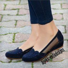 Nonet Süet Lacivert Taşlı Babet #blue #shoes