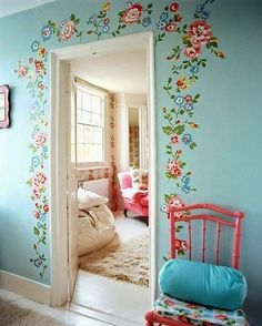 love this idea framing the door with flowers great contrast cathkidston the doors kids room girls room cath kidston door frames girl rooms