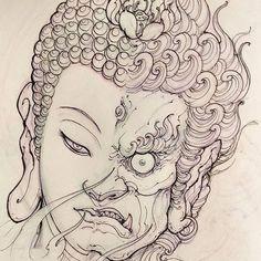 Buddha Fudo sketch for Filler. #chronicink #asiantattoo #asianink #irezumi #tattoo #sketch #illustration #drawing #buddha #fudo