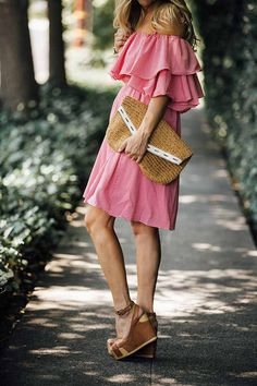 Perfect romantic spring outfit idea - flowy pink off the shoulder dress with tan wedges. Click through for more details on this look!