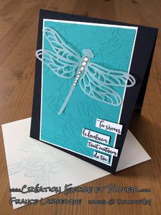 Stampin'Up!  Carte Amitié  Friendship Card  Thinlits Libellule Ciselée  Dragonfly Thinlits  www.creationencreetpapier.com