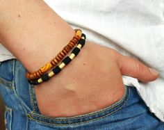 Items I Love by Tim on Etsy Surfer Bracelets, Bracelets For Men, Beaded Bracelets, Wood Bracelet, Gemstone Necklace, Natural Wood, Best Gifts, Give It To Me, Gemstones