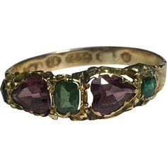 Early Victorian Emerald and Almandine Garnet 15K Gold Ring Size 7/O for sale by Corvidae Antique on Ruby Lane