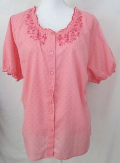 Womens Top Blouse Size 2X Plus denim co Button Short Sleeve Pink Embroidered  #DenimCo #Blouse #Casual #ebay