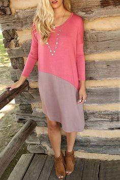 Chic Color Block Asymmetrical Dress