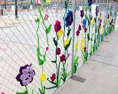 Yarn bomb - kids' schoolyard