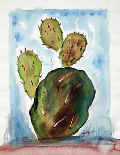 It's that time of year when all the cactus start to bloom! DeGrazia watercolors on paper.