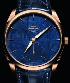 Parmigiani Fleurier Tonda 1950 Meteorite Watch with Gold Case and Blue Dial Best Watches For Men, Luxury Watches For Men, Cool Watches, Rolex Watches, Modern Watches, Vintage Watches, Skeleton Watches, Beautiful Watches, Fashion Bracelets