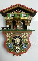 W German Antique Toggili Clock Replica C 1955 Wood WEATHER HOUSE no Key Untested