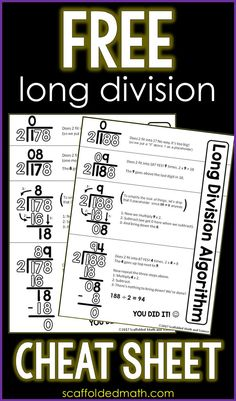 This long division reference sheet can help students with the steps of the long division algorithm. The free printable pdf can be enlarged into an anchor chart or slipped into a student math… Math Reference Sheet, Math Cheat Sheet, Cheat Sheets, Math Teacher, Math Classroom, Teaching Math, Teaching Secondary, Fourth Grade Math, 7th Grade Math