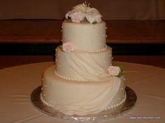 Wedding Cakes- 3 tier, fondant, fondant draping, sugar roses