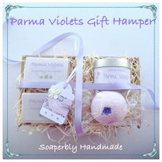 Parma Violets, scented bath products and a gorgeous soy wax candle, presented in a decorated gift hamper by SoaperblyHandmade on Etsy