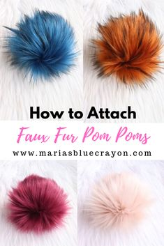 Learn how to attach a faux fur pom pom to your crochet and knit hats securely! In this video tutorial, I will show you how I attach my pom poms to my hats to avoid any wobbling and to make sure… Addi Knitting Machine, Knitting Machine Patterns, Loom Knitting, Knitting Stitches, Crochet Patterns, Crochet Beanie, Knit Or Crochet, Knitted Hats, Crochet Hats