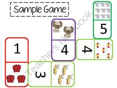 Giant Dominos for teaching numbers and counting. Perfect for a math center! Teachers Notebook