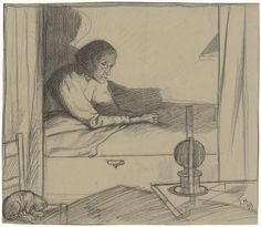 Richard Roland Holst | Vrouw Hogerhuis, zittend in bed (tweede ontwerp), Richard Roland Holst, 1899 | Ontwerp voor een prent.