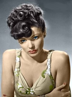 Gene Tierney. Colorized by Luiz Adams.