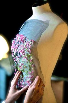 Christian Dior Couture S/S 2013...the exciting stages of creating a masterpiece...pinning the first lovely thing onto the dressform! ~zw