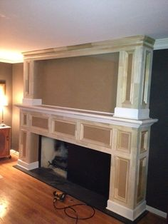 Remodeled fireplace surround.