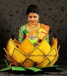 South Indian Brides Tamil Brides, Telugu Brides, Malyalee Brides, South Asian Brides Curated By. Desi Wedding Decor, Indian Wedding Decorations, Hall Decorations, Wedding Ideas, Diwali Decorations, Wedding Shoot, Wedding Attire, Wedding Couples, Flower Decorations