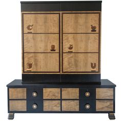 Swedish Art Deco Marquetry 2-part Cabinet by Otto Schulz for Boet | From a unique collection of antique and modern cabinets at http://www.1stdibs.com/furniture/storage-case-pieces/cabinets/