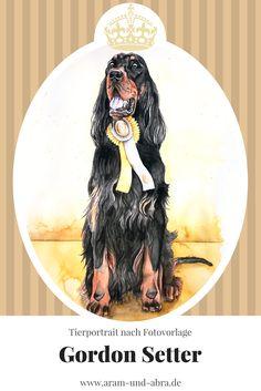 Zeichnung Hund - Gordon Setter - Aquarell nach Foto - Aram und Abra