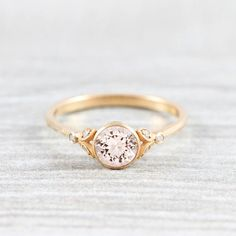 Morganite and diamond round engagement solitaire nature