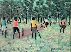 Painting: Boys Playing Cricket.  Acrylic paint on artboard, 40 x 29.5 cm; 24.5 x 19.5 cm  Fine Early Aboriginal And Oceanic Art, Mossgreen Auctions, Sydney.