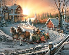 """Pleasures of Winter 1000 Piece Jigsaw Puzzle by Terry Redlin. Item: 975 : Finished size 24"""" x 30"""""""