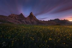 Transition by Alex Noriega on 500px Night fades to morning in this half-hour exposure of South Dakota's Badlands towering over balsamroot blooms.