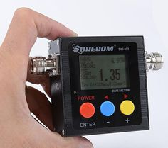 SW-102-UV Digital VHF/UHF Power & SWR Meter & Frequency counter   V.S.W.R. meter Introduction  VSWR. Forward and reflected power direct digital readout, without any calibration. Maximum measurable power range up to 120W. low insertion loss (0.3 decibels or less) structure allows it to be permanently connected. Build in Frequency counter . All Funtion display ( Frequency,Power , SWR,FW,RW,Battery voltage)