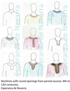A survey of different styles of necklines from period sources. Take a look around at the clothing most medieval re-creationists wear. The vast majority have the same neck-hole – round or round with… Viking Garb, Viking Reenactment, Viking Dress, Medieval Costume, Viking Pattern, Medieval Pattern, Norse Clothing, Medieval Clothing, Historical Costume